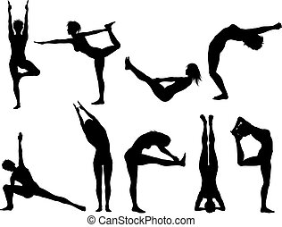 Yoga poses - Silhouettes of females in various yoga poses