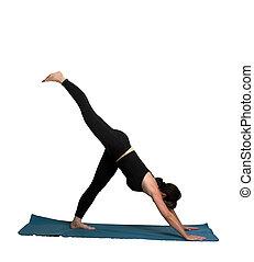 Yoga Poses - an atractive woman doing yoga poses isolated...