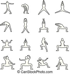 Yoga poses vector illustration outline sketch hand drawn with black lines isolated on white background. Set 9.