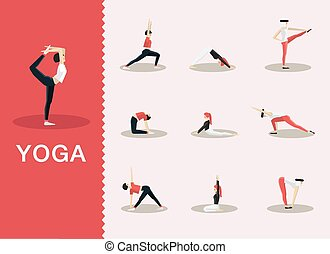 Yoga poses - Yoga and Pilates poses in a selection of ...
