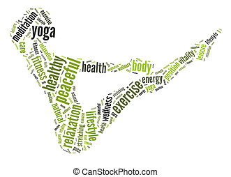 Yoga position info-text graphics arrangement and word cloud. Health and fitness concept.