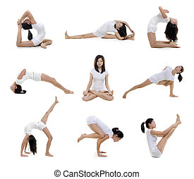 Yoga position - Collection of woman in yoga on white...
