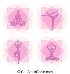 Yoga positions decorative backgrounds.