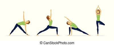 Yoga positions - modern vector cartoon character set