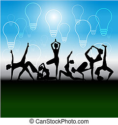 Yoga class greeting pose illustration with female instructor yoga positions silhouettes icons s m4hsunfo