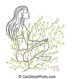 Yoga poster with girl sketch and nature background - vector...