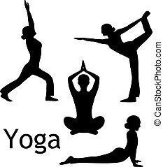 yoga, posturas, silueta, vector