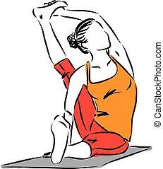 yoga posture woman fitness vector illustration
