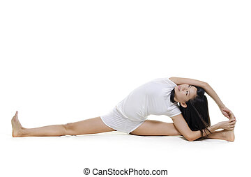 Yoga Posture - Woman in yoga, Seated Side Stretch Sequence...
