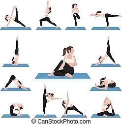 Yoga postures exercises set.