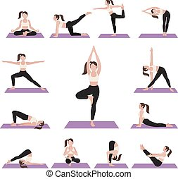 Yoga postures exercises set. Vector illustration.