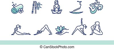 Yoga postures illustration. Woman do sport exercises. Healthy life icons