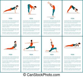 Yoga Postures Set, Sporty Woman, Color Banner - Yoga...