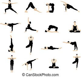 Yoga postures silhouette set.