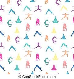 yoga, próbka, poza, seamless, tło, kobiety