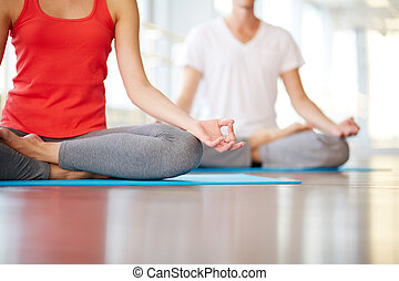 Yoga practice - Lower part of slim female and man on ...