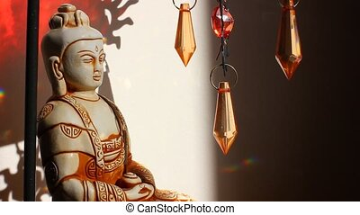 yoga, practice., statue, buddha.