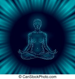 Yoga practice woman in lotus position low poly silhouette. Polygonal yoga relaxation exercise wellness class.Dark blue night space trance. Buddhism esoteric Kundalini energy vector illustration