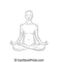 Yoga practice woman in lotus position low poly silhouette. Polygonal yoga relaxation exercise wellness class. White gray monochrome color. Buddhism esoteric Kundalini energy vector illustration