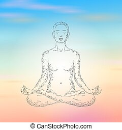 Yoga practice woman in lotus position low poly silhouette. Polygonal yoga relaxation exercise wellness class. Sunrise morning sky sunset Buddhism esoteric Kundalini energy vector illustration