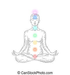 Yoga practice woman in lotus position low poly silhouette. Polygonal yoga relaxation exercise wellness class. White gray chakra points color. Buddhism esoteric Kundalini energy vector illustration