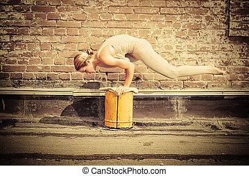 yoga, practicing