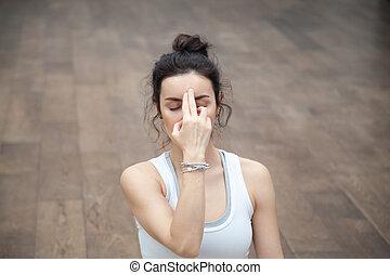 yoga:, pranayama, shodhana, 美しい, nadi