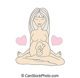 yoga pregnant woman in lotus position