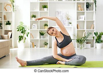 yoga, preparare, corpo, esercizio, parto