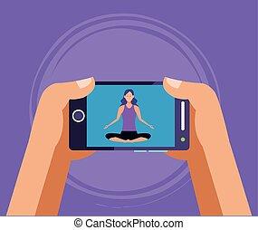 yoga, quarantena, donna, linea, attivo