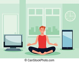 yoga, quarantena, linea, attivo, uomo