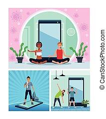 yoga, quarantena, persone, esercizio, interrazziale, linea, attivo