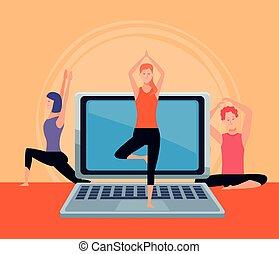 yoga, quarantena, persone, esercizio, linea, attivo