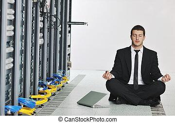 yoga, réseau, business, pratique, serveur, homme, salle