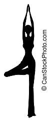yoga, ragazza, silhouette