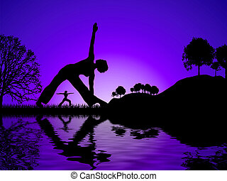 yoga reflect - Sun set glow with two women reflected whilst...