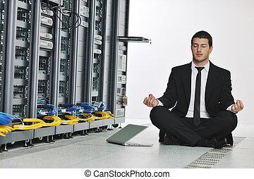yoga, rete, affari, pratica, server, uomo, stanza