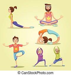Yoga retro cartoon set
