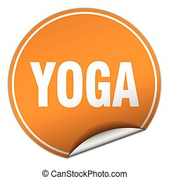 yoga round orange sticker isolated on white