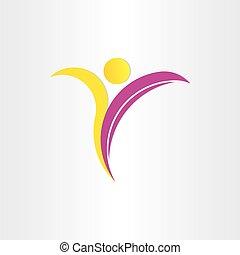 yoga, sain, symbole, lettre, homme