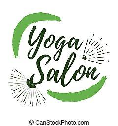 Yoga Salon label. Eco style and Wellness Life. Healthy Lifestyle badges. Vector illustration icon with Sunburst