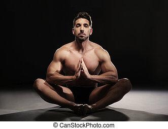 yoga, seduta, monokini, muscolare, posizione, uomo