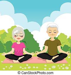 yoga, senior, park