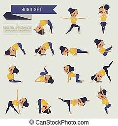 yoga set and info graphic