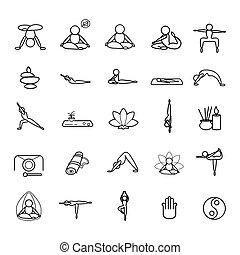 Yoga set line icons on white background