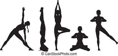 yoga, set, silhouette