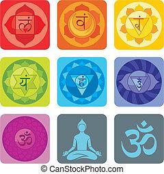 Yoga Set - Spiritual set with chakras and yoga icons