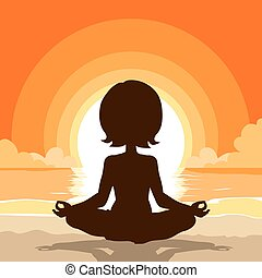 Yoga Silhouette Beach Background