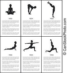 yoga, silhouette, collection, attitudes, maître, bannière