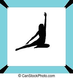 yoga, silhouette, esercizio